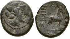 Ancient Greece  187-131 BC MACEDON THESSALONICA DIONYSOS GOAT AE #2
