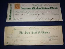 Importers Traders National State Of Virginia 1860/70s Vintage Bank Cheques