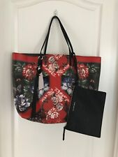 NWT Alexander McQueen $1795 Skull Flower-Print Open Leather Shopper Tote Bag Red
