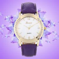 Women Geneva Fashion Leather Band Analog Quartz Diamond Wrist Watch Watches