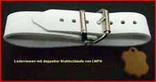 4 Lederriemen weiss mit doppelter Metallschlaufe 2,0 x 30,0 cm Kinderwagen lwph
