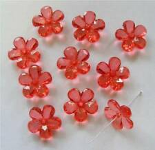 15 Plastic Acrylic Flower Beads - Red - 20mm