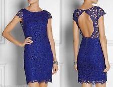 NWT ALICE OLIVIA Blue Open Back Clover Eyelet Cap Sleeve Lace Dress Sz 8 Cobalt