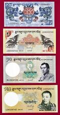 4 BHUTAN 2006 UNC NOTES:1 Ngultrum P-27, 5 Ngtm P-28, 10 Ngtm P-29, & 20 Ng P-30
