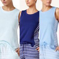 Nautica women's Side-Striped Sleeveless Pajama Top Light/Royal/Medieval Blue
