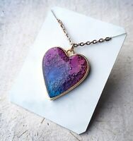 Beautiful Resin Pendant Necklace | Purple Alcohol Ink | Heart Gold Jewellery