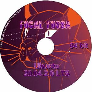 Ubuntu Linux 20.04.2.0 LTS 'Focal Fossa' 64 bit Linux O/S 20 Desktop DVD