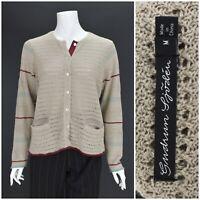 Womens Gudrun Sjoden 100% Ramie Cardigan Jumper Brown Knit Pocket Size M