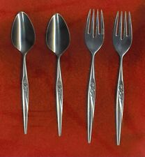 Tradition Stainless GENTLE ROSE 2 Salad Forks & 2 Teaspoons Nice FREE Shipping!