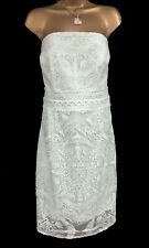 Lipsy Michelle Keegan Pencil Dress 16 Lace Mint Green Bird Embroidery Strapless