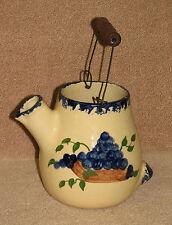 1999 Alpine Pottery Ohio Blueberry Grape Pitcher Wood Wire Handle Blue Sponge
