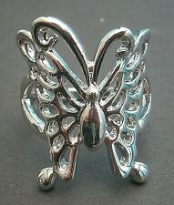 AT207*) Abstract filigree Butterfly statement silver tone ring
