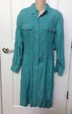 Nordstrom Point Of View Womens 100% Linen Turquoise Dress Button Down Size 8