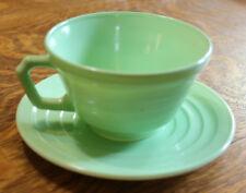 VINTAGE HAZEL ATLAS MODERNTONE Green TEA CUP AND SAUCER SET  ESTATE FIND