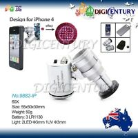 60x Mini Magnification Digital Magnifier Microscope Lens + LED iPhone 5 5S 4 4S
