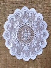 """Heritage Lace Set of (3) Three White 8.5"""" x 7.25""""  Floriade Doilies"""