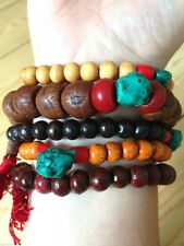 5 WOODEN & BOHDI WRIST MALA PRAYER BEADS FAIR TRADE BRACELET BUDDHISM HIND