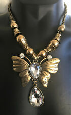 Stunning gold coloured chunky STATEMENT NICKEL FREE butterfly necklace