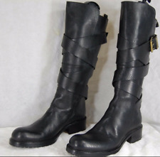 SARTORE WOMEN BUCKLED BELTED RIDING BIKER BLACK LEATHER BOOTS EU 39.5 US 9.5
