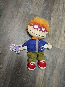 """Vintage CHUCKY Rugrats 15"""" Plush Toy Viacom 2000 zip, button, buckle with tags"""