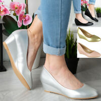 Womens Comfy Wedge Court Shoes Ladies Heel Sole Wedding Bridal Work Office Sizes