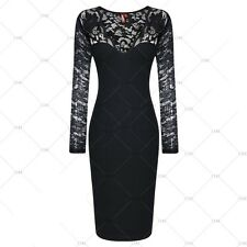 Women's Vintage Style V-Neck Full Lace Cocktail Evening Party Slim Pencil Dress