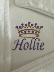 Personalised Luxury Embroidered crown/ name on front 100% Cotton Bathrobe