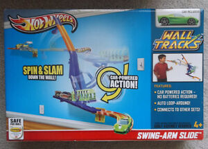 2012 Hot Wheels Wall Tracks Swing - Arm Slide Set with Car Sealed Unopened Box