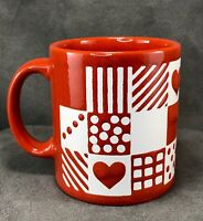 Vintage Waechtersbach Red Coffee Mug Hearts Stripes Polka Dots White Germany Cup