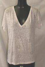 Rails Women's S/S V-Neck Linen-Blend Cara Tee T-Shirt MC7 White Stella Medium