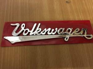 VW BUG VINTAGE EMBLEM REAR Front HOOD Nameplate BEETLE Script Written w/ Defects