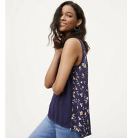 Womens Ann Taylor LOFT Blue Floral Sleeveless Mixed Media Sweater Tank Shirt S