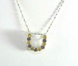 1.25ct  Natural Garnet & Citrine 925 Sterling Silver Pendant & Chain