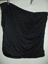 LANE BRYANT 26/28 BLACK GOLD METALLIC STRAPLESS TUBE TOP shirt cami 2x NO STRAPS