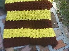 "Vintage Handmade Afghan 60"" x 80"" Burgundy Gold Yellow Redskins School Colors"