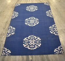 Hand Woven Modern Floral Designer Cotton Blue Color Decorative Area Rug
