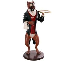 Pitbull Butler Dog Life Size Statue Pit Bull with Tray Animal Display Prop