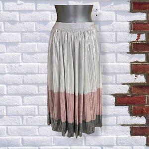 Womens Striped Metallic Pleated Pink Silver & white Size Small Midi Skirt