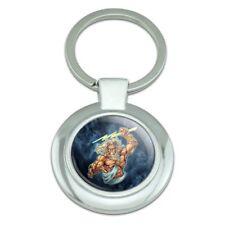 Zeus Greek God Mythology Lightning Classy Round Chrome Plated Metal Keychain