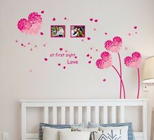 57000275 Wall Stickers Heart Shape Flowers in Pink with Blowing Petals & Frames