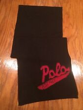 NWT POLO RALPH LAUREN BLACK MERINO WOOL NECK WRAP RED LETTER POLO SCARF