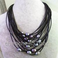 15 Reihe 10-12mm schwarz / grau Süßwasserperle schwarz Leder Halskette