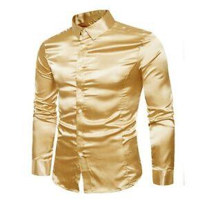 Dress Tops Fashion Long Sleeve Mens Paisley Shirts Silk Business Blouse