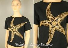 MICHAEL SIMON Cotton Knit Embellished Beaded Starfish Design Shirt Blouse Top S