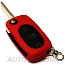 ROSSO Cover Chiave per VW 3 pulsante caso fob remoto PROTECTOR BAG AUTO OVALE ROUND 42R