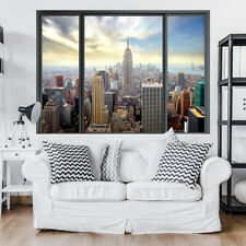 Wandbild 3D Fensterblick Skyline New York Wandillusion Strand Poster XXL