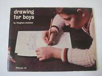 1956 vtg Drawing for Boys BOOK Genevieve Vaughan Jackson retro mid century art
