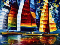 ZWPT501 hand-painted abstract modern sail boat wall art oil painting on canvas