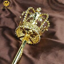 Gold Cross Scepter Wand Imperial Prop Crystal Staff Beauty Pageant Party Costume