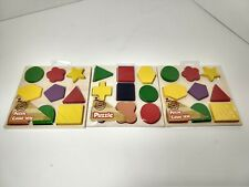 Lot of 3 Puzzles Real Wood Toys Playing Learning Shapes Colors Children Kid 5x5""